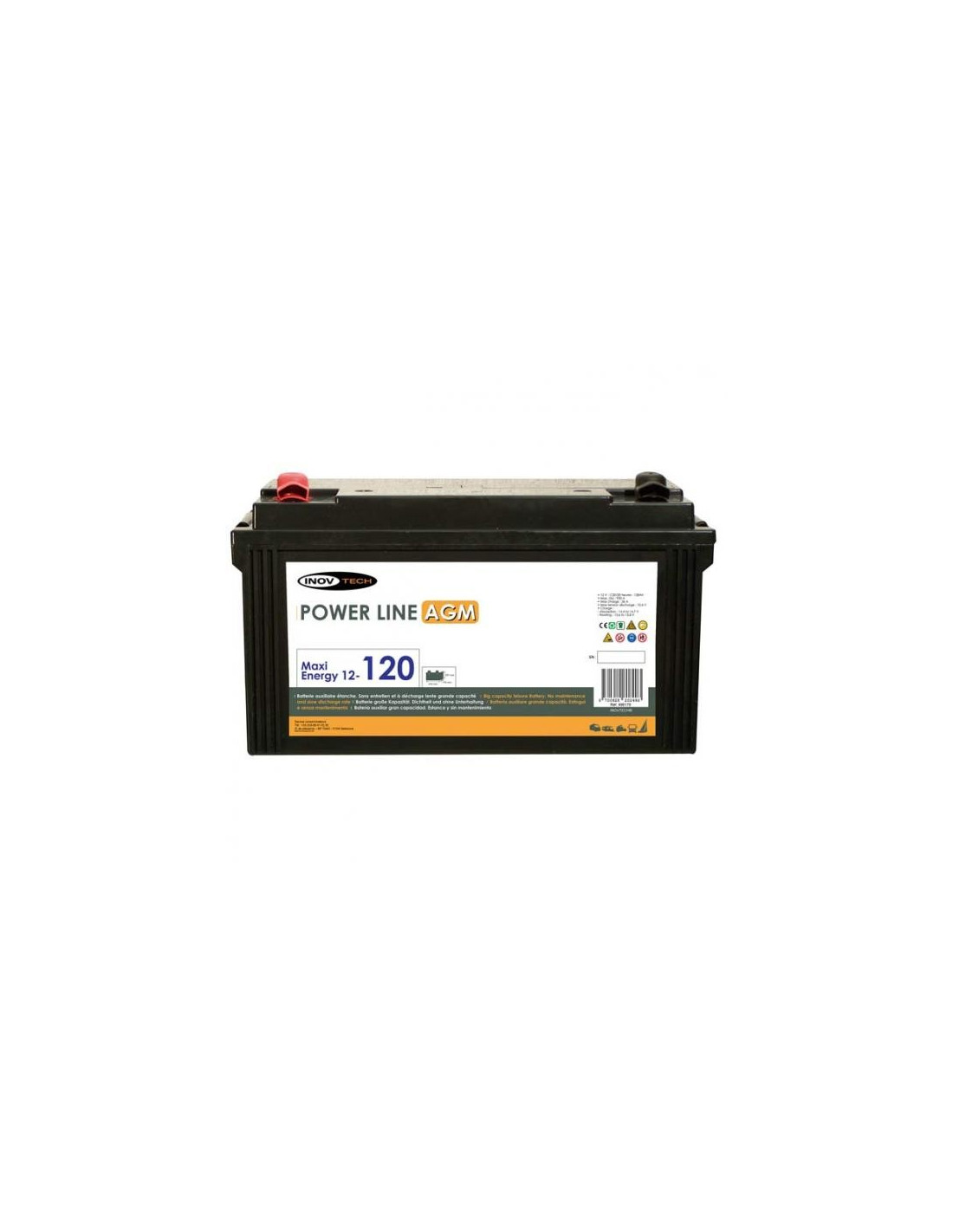 bateria auxiliar power line agm 120a elektron tienda de camping online. Black Bedroom Furniture Sets. Home Design Ideas