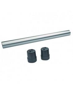 Support de table rond en acier chromé, hauteur 70cm.