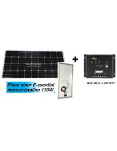 Painel solar essencial de 130W + cabo + regulador solar MPPT + glândula de cabo