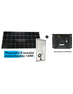 Panel Solar Essential 130W + Cable + Regulador solar MPPT + Pasacable