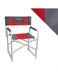 Roter Regiestuhl aus Aluminium. Bayasun