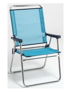 Cadeira de praia com encosto alto em alumínio