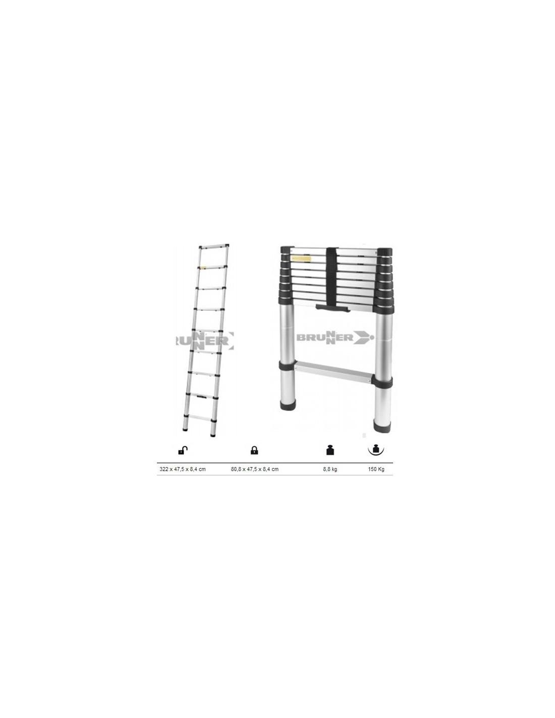 Escalera telesc pica de aluminio altura 3 22m tienda de for Precio escalera telescopica aluminio