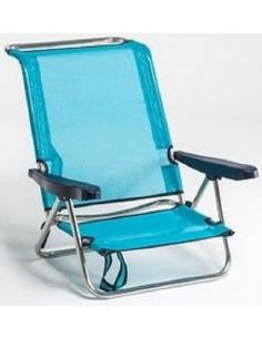 Cadeira de praia de alumínio com encosto alto