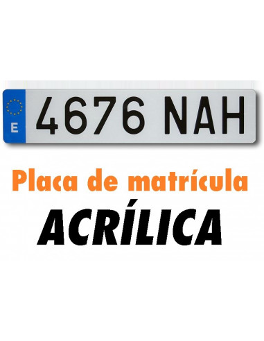 Placa matrícula acrílica. Coche. Normal