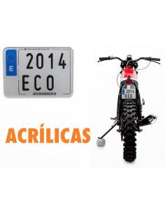 Placa matrícula acrílica. Moto Enduro