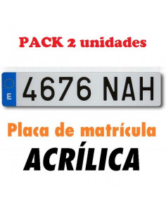 2x Placas matrículas acrílicas. Coche. Normal