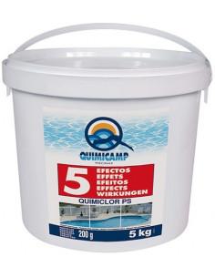 Chlore 5 effets pilules de Quimicamp 5kg