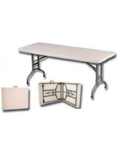 Mesa rectangular de resina plegable 180 x 75 cm tienda de camping online - Mesa de resina plegable ...