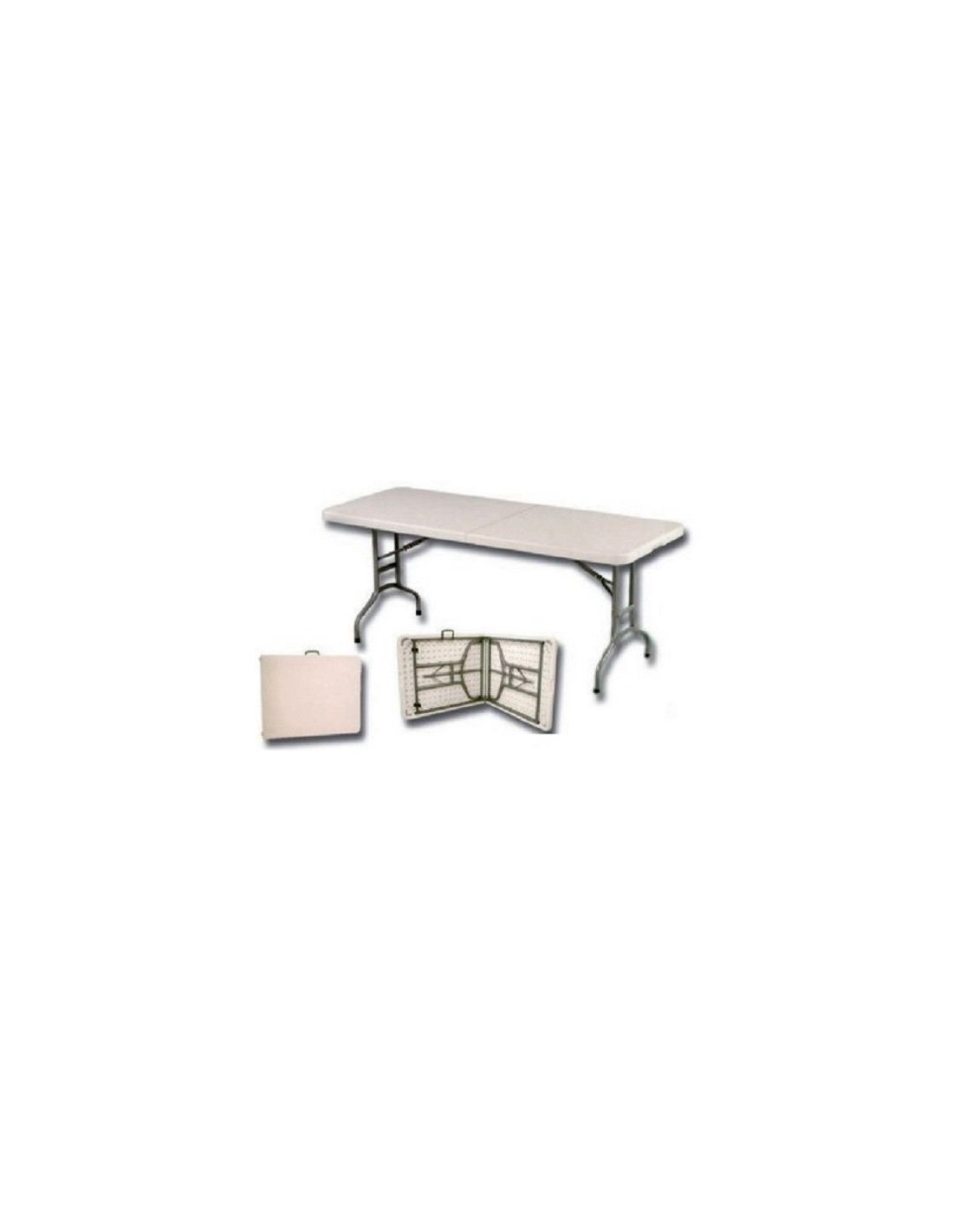 Mesa rectangular de resina plegable 180 x 75 cm tienda - Mesa de resina plegable ...