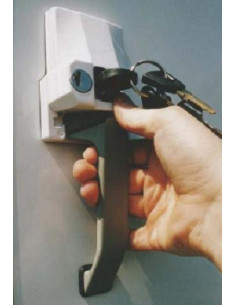 Seguro para puertas  cerradura externa con manija. Tipo POS. HeoSafe.