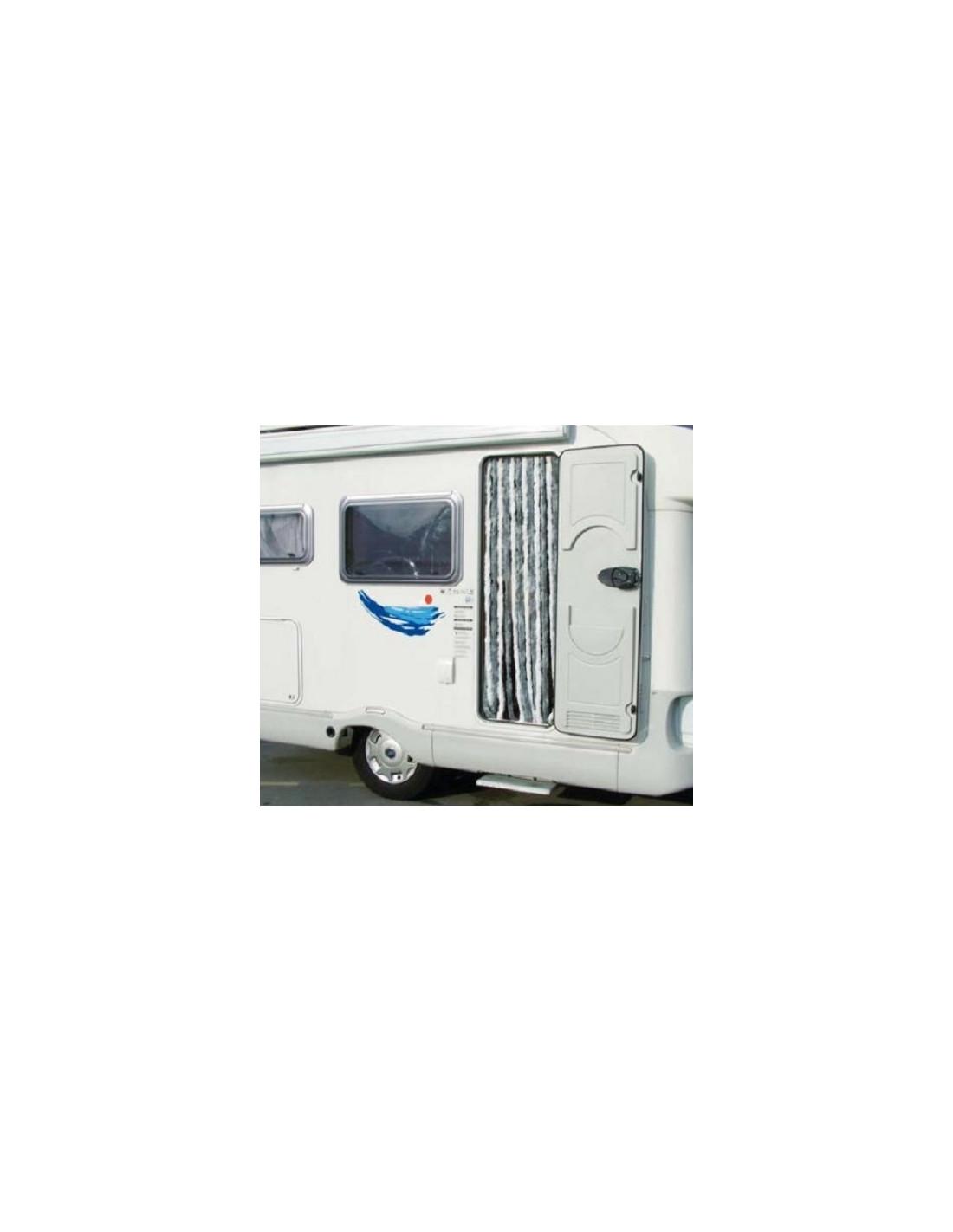 Cortina puerta caravana midland 56x185 cm gris y blanca for Cortinas grises y blancas