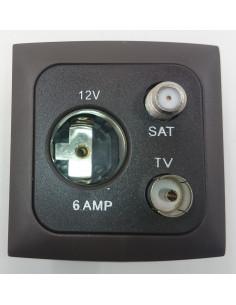 Toma de conexión interior 3 en 1. Sat, 12V y TV. Marrón