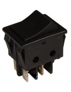 Pulsador basculante de 2 circuitos abierto. Tecla negra