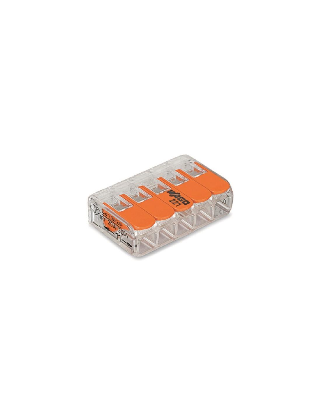 Regleta de empalmes wago 221 de 5 cables tienda de - Regleta para cables ...