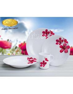 Vajilla de melamina de 8 piezas para 2 personas FLOWER