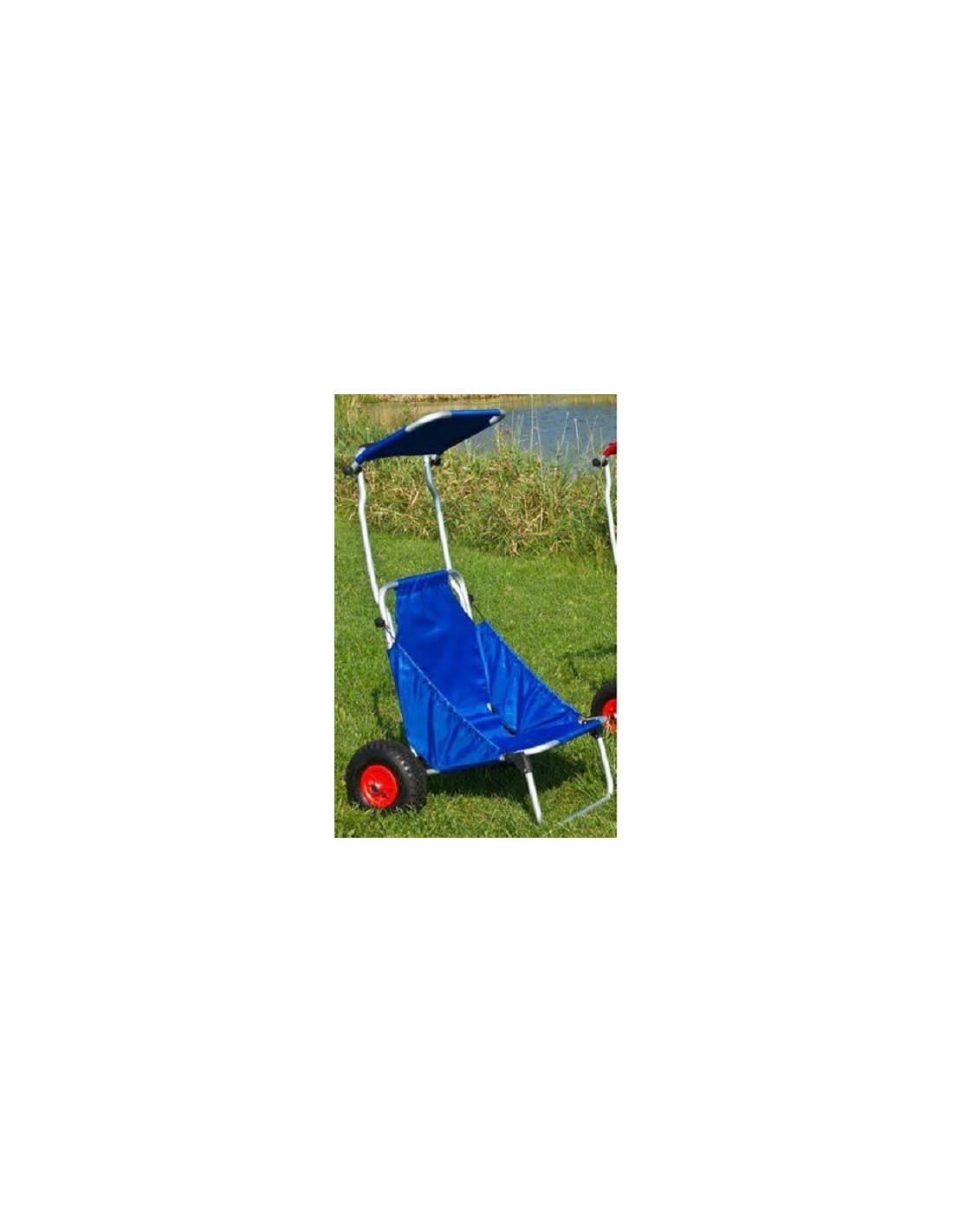 Carro silla de playa con toldo en aluminio tienda de camping online - Carro para playa transportar sillas ...