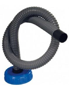 Tubo corrugado de 1 metro com ficha DIN 96 para depósito de águas residuais.