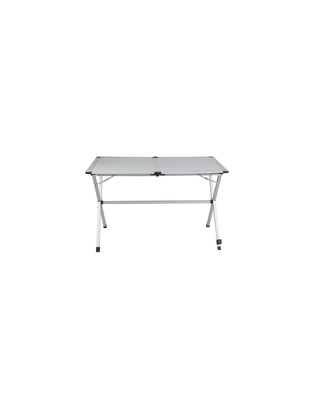 Mesa aluminio plegable 6 personas 140cm tienda de for Mesa de camping plegable de aluminio