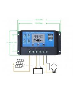 Regulador controlador automático de carga solar 10A PWM