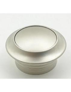 Botón con roseta para cerradura cajetín de mueble plateado 16 mm