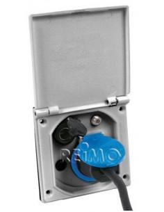 Zócalo externo multifunción 230/12V tapa color plata