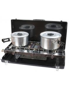 Poêle pliante valise avec deux feux et grill. Frais