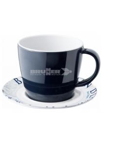 Prato e xícara de café melanina 25cl. Brunner do oceano azul