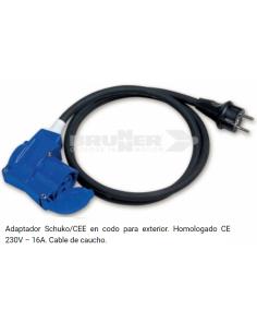 Adaptador Schuko/Cetac en codo de 150 cm para exterior con un grosor de 2.5 mm²