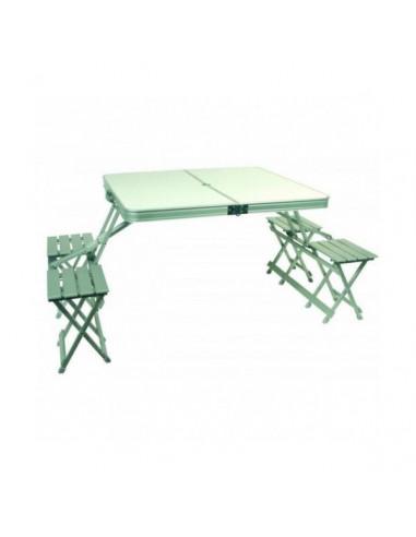 Mesa picnic plegable malet n 162 cm midland tienda de for Mesa plegable maletin